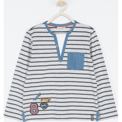 Koszulka. Szare t-shirty chłopięce z długim rękawem STREET VIBER, z aplikacjami, z bawełny. Za 41,93 zł.