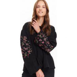 Bluzy rozpinane damskie: BLUZA NIEROZPINANA DAMSKA, LUŹNA, Z HAFTEM NA BUFIASTYCH RĘKAWACH