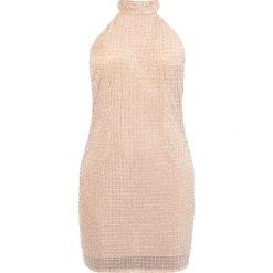 Sukienki: Missguided PEACE LOVE HALTERNECK SMALL GRID EMBELLISHED BODYCON Sukienka koktajlowa silver/nude