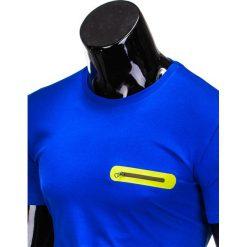 T-SHIRT MĘSKI BEZ NADRUKU S824 - NIEBIESKI. Zielone t-shirty męskie z nadrukiem marki Ombre Clothing, na zimę, m, z bawełny, z kapturem. Za 29,00 zł.