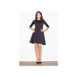 Sukienka M235 Czarny. Szare sukienki balowe marki FIGL, m, z bawełny, z asymetrycznym kołnierzem, z długim rękawem. Za 139,00 zł.
