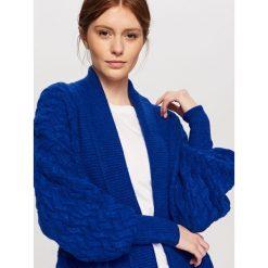 Kardigany damskie: Kardigan z szerokimi rękawami – Niebieski