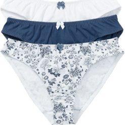 Figi (3 pary) bonprix biały z nadrukiem + ciemnoniebieski + biały. Niebieskie figi marki QUECHUA, z elastanu. Za 53,97 zł.