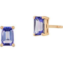 Wyjątkowe Złote Kolczyki - złoto żółte 585, Tanzanit. Żółte kolczyki damskie W.KRUK, z diamentem, złote, na sztyftcie. Za 1190,00 zł.