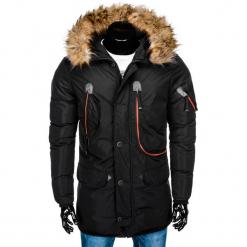 KURTKA MĘSKA ZIMOWA PARKA C369 - CZARNA. Czarne kurtki męskie bomber Ombre Clothing, na zimę, m, z poliesteru. Za 179,00 zł.
