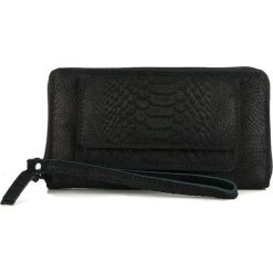 Portfele damskie: Skórzany portfel w kolorze czarnym – 20,5 x 11 x 2 cm