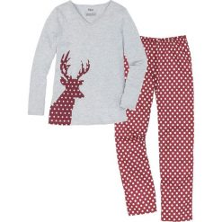 Piżama bonprix czerwono-pomarańczowy z nadrukiem. Brązowe piżamy damskie bonprix, z nadrukiem. Za 69,99 zł.