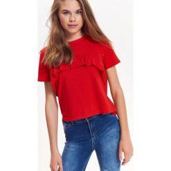 T-SHIRT DAMSKI Z FALBANKĄ. Czerwone t-shirty damskie Top Secret, z falbankami. Za 19,99 zł.