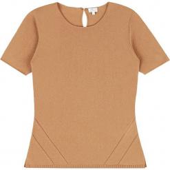 Sweter kaszmirowy w kolorze karmelowym. Brązowe swetry klasyczne damskie marki Ateliers de la Maille, z kaszmiru, z okrągłym kołnierzem. W wyprzedaży za 318,95 zł.