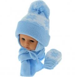 Czapka niemowlęca z szalikiem i rękawiczkami CZ+S+R 014D. Niebieskie czapeczki niemowlęce Proman. Za 46,14 zł.