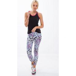 Spodnie damskie: Białe legginsy sportowe w panterkę H006