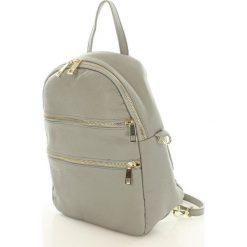 Plecaki damskie: Skórzany plecak z zamkami BALTIMORE jasny szary