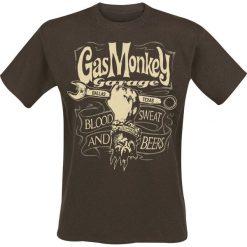 T-shirty męskie z nadrukiem: Gas Monkey Garage GMG Dallas Texas T-Shirt brązowy