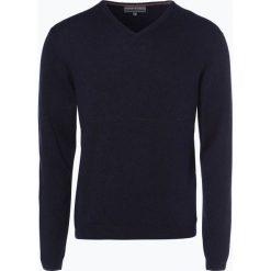Finshley & Harding - Sweter męski z kaszmiru i jedwabiu, niebieski. Czarne swetry klasyczne męskie marki Finshley & Harding, w kratkę. Za 299,95 zł.
