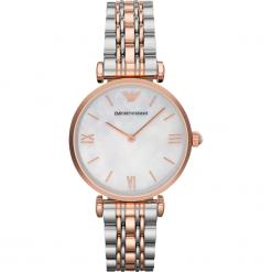 Zegarek EMPORIO ARMANI - Gianni T-Bar AR1683  2T Silver/Rose/Rose Gold. Szare zegarki damskie marki Emporio Armani, l, z nadrukiem, z bawełny, z okrągłym kołnierzem. Za 1419,00 zł.