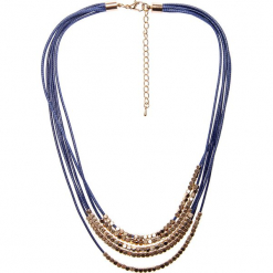 Granatowy krótki naszyjnik QUIOSQUE. Niebieskie naszyjniki damskie QUIOSQUE, na co dzień, srebrne. W wyprzedaży za 39,99 zł.