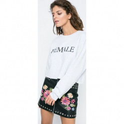 Missguided - Bluza. Szare bluzy z nadrukiem damskie marki Missguided, l, z bawełny, bez kaptura. W wyprzedaży za 49,90 zł.