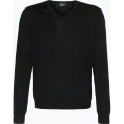Swetry klasyczne męskie: März – Męski sweter z wełny merino, czarny