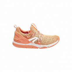 Buty damskie do szybkiego marszu PW 140. Brązowe buty do fitnessu damskie marki NEWFEEL, z gumy. Za 79,99 zł.