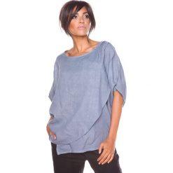 """Bluzki asymetryczne: Lniana koszulka """"Leny"""" w kolorze szarym"""