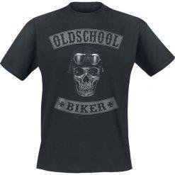 Oldschool Biker Skull T-Shirt czarny. Czarne t-shirty męskie z nadrukiem Oldschool Biker Skull, m, z okrągłym kołnierzem. Za 79,90 zł.