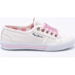 Pepe Jeans - Tenisówki dziecięce. Szare buty sportowe dziewczęce Pepe Jeans, z gumy, na sznurówki. W wyprzedaży za 169,90 zł.