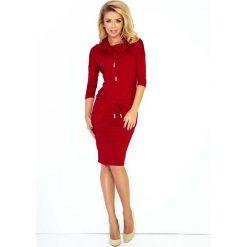 Bordowa Sukienka Ołówkowa z Golfem Wiązana w Pasie. Czerwone sukienki na komunię marki Molly.pl, na co dzień, l, z tkaniny, sportowe, z golfem, z długim rękawem, ołówkowe. Za 119,90 zł.