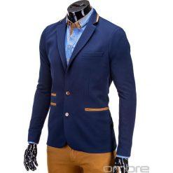MARYNARKA MĘSKA CASUAL M10 - GRANATOWA. Pomarańczowe marynarki męskie slim fit Ombre Clothing, z jeansu. Za 115,00 zł.