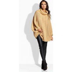 Swetry damskie: Kamelowy Sweter A'la Ponczo z Golfem