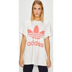 Adidas Originals - Top. Szare topy damskie adidas Originals, z nadrukiem, z bawełny, z okrągłym kołnierzem. Za 149,90 zł.