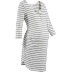 Bielizna damska: Koszula nocna do karmienia bonprix jasnoszary melanż – biel wełny w paski