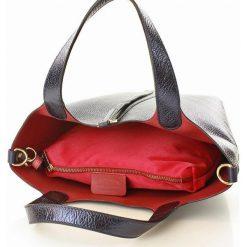 Shopper bag damskie: CLAIRE Torebka włoska shopper skórzany granatowa