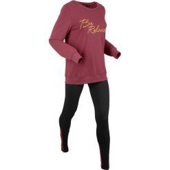 Bluza z legginsami sportowymi (kompl. 2-częściowy) bonprix bordowo-czarny. Czerwone bluzy sportowe damskie bonprix. Za 129,99 zł.