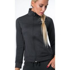 Bluza sportowa z prążkowanego materiału czarna MR15594. Czarne bluzy rozpinane damskie Fasardi, l, prążkowane. Za 109,00 zł.