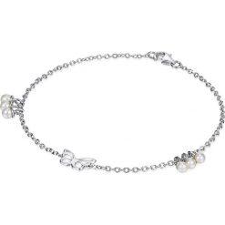 Bransoletki damskie: Srebrna bransoletka z zawieszką i perłami