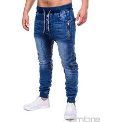 SPODNIE MĘSKIE JEANSOWE JOGGERY P198 - NIEBIESKIE. Niebieskie joggery męskie Ombre Clothing, z bawełny. Za 79,00 zł.