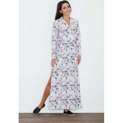 Długa Sukienka Szmizjerka w Kwiaty Wzór 70. Niebieskie długie sukienki marki bonprix, na spacer, na lato, w koronkowe wzory, z bawełny, dopasowane. Za 189,90 zł.