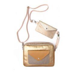 Torebki i plecaki damskie: Torebka Double Bag złoto z beżem i mleczną kawa