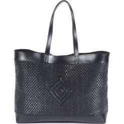 Torba skórzana na zakupy z etnicznym wzorem. Czarne shopper bag damskie La Redoute Collections, w paski, z bawełny. Za 349,86 zł.