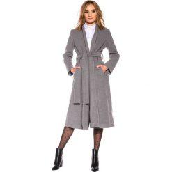 Płaszcze damskie: Szary płaszcz wiązany na pasek BIALCON