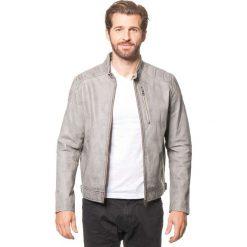 Kurtki męskie bomber: Skórzana kurtka w kolorze jasnoszarym