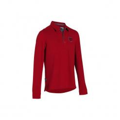 Koszulka polo jeździecka Blason męska. Czarne koszulki polo marki B'TWIN, na jesień, m, z elastanu. Za 99,99 zł.