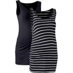 Top ciążowy (2 szt.) bonprix czarny +czarno-biały w paski. Niebieskie bluzki ciążowe marki bonprix, z nadrukiem. Za 59,98 zł.