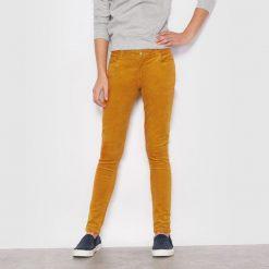 Spodnie slim z weluru 10-16 lat. Brązowe spodnie chłopięce La Redoute Collections, w paski, z bawełny. Za 63,84 zł.