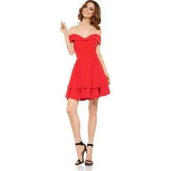Czerwona Elegancka Imprezowa Sukienka z Odkrytymi Ramiona. Czerwone sukienki balowe Molly.pl, na imprezę, na wiosnę, l, z odkrytymi ramionami. Za 199,90 zł.