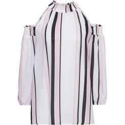 Bluzka z wycięciami bonprix biało-jasnoróżowo-czarny w paski. Białe bluzki asymetryczne bonprix, w paski, ze stójką, z długim rękawem. Za 119,99 zł.