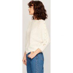 Kardigany damskie: Sweter z rękawami 3/4 – Kremowy