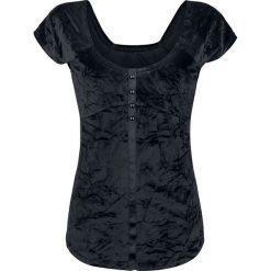 Bluzki, topy, tuniki: Fashion Victim Samt T-Shirt Koszulka damska czarny