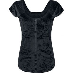 Bluzki asymetryczne: Fashion Victim Samt T-Shirt Koszulka damska czarny