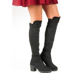 ZAMSZOWE KOZAKI NA SŁUPKU. Czarne buty zimowe damskie marki Kazar, ze skóry, na wysokim obcasie. Za 155,00 zł.